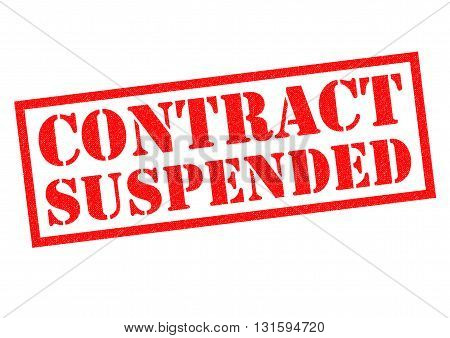 CONTRACT SUSPENSION red Rubber Stamp over a white background.