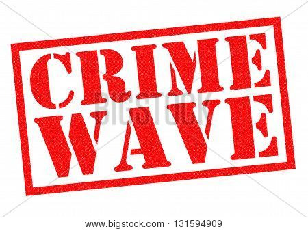 CRIME WAVE red Rubber Stamp over a white background.
