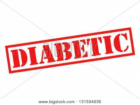 DIABETIC red Rubber Stamp over a white background.