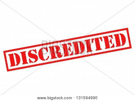 DISCREDITED red Rubber Stamp over a white background.