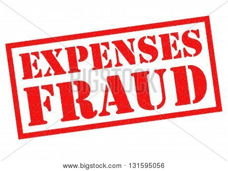 EXPENSES FRAUD red Rubber Stamp over a white background.
