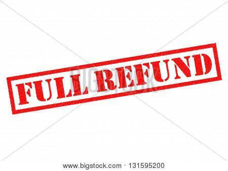 FULL REFUND red Rubber Stamp over a white background.