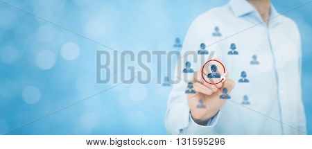 Marketing segmentation and targeting personalization individual customer care (service) CRM and leader concepts. Human resources officer select one person bokeh in background wide (banner) composition.