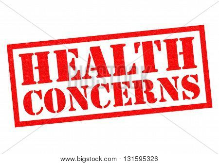 HEALTH CONCERNS red Rubber Stamp over a white background.