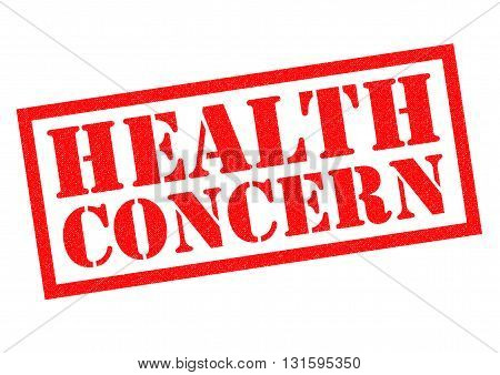 HEALTH CONCERN red Rubber Stamp over a white background.