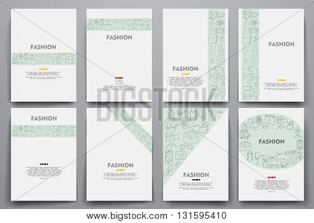 Corporate identity vector templates set with doodles fashion theme. Target marketing concept
