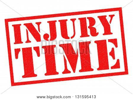 INJURY TIME red Rubber Stamp over a white background.