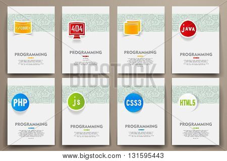 Corporate identity vector templates set with doodles programming theme. Target marketing concept
