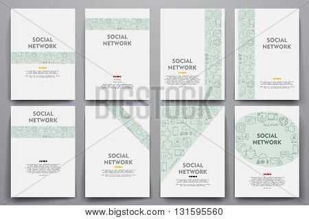 Corporate identity vector templates set with doodles social network theme. Target marketing concept