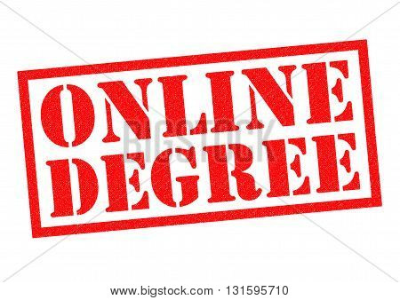 ONLINE DEGREE red Rubber Stamp over a white background.
