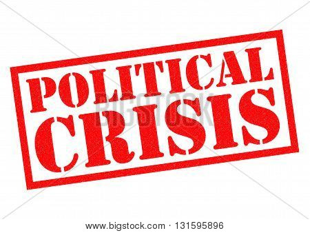 POLITICAL CRISIS red Rubber Stamp over a white background.