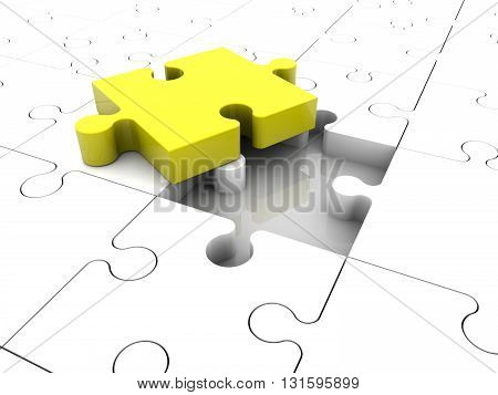 Puzzle pieces concept in white and yellow colors . 3D illustration