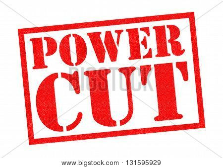 POWER CUT red Rubber Stamp over a white background.
