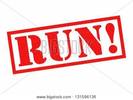 RUN! red Rubber Stamp over a white background.