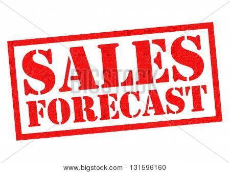 SALES FORECAST red Rubber Stamp over a white background.