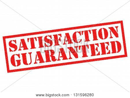 SATISFACTION GUARANTEED red Rubber Stamp over a white background.