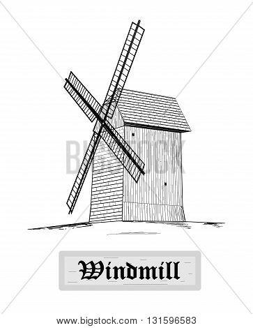 Rural windmill, drawing design - vector illustration.