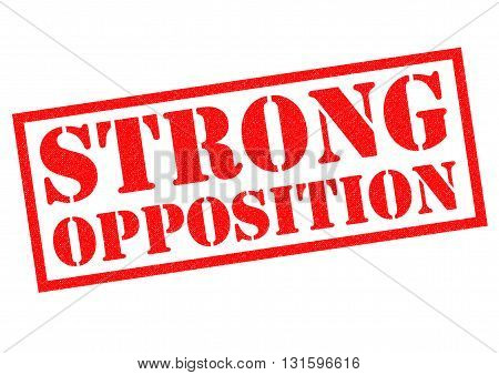STRONG OPPOSITION red Rubber Stamp over a white background.