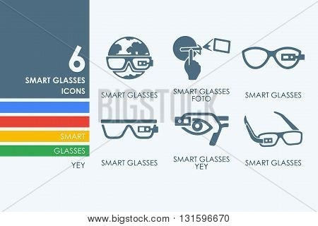 high-tech glasses vector set of modern simple icons