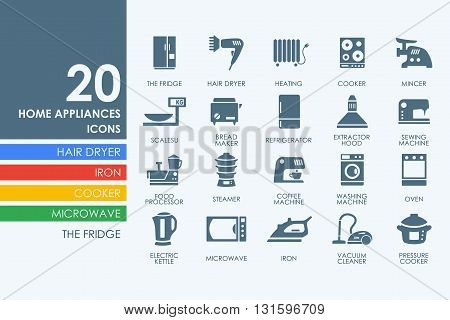household appliances vector set of modern simple icons