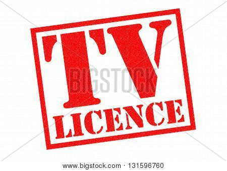 TV LICENCE red Rubber Stamp over a white background.