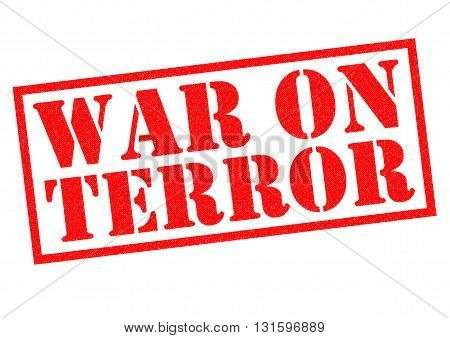 WAR ON TERROR red Rubber Stamp over a white background.