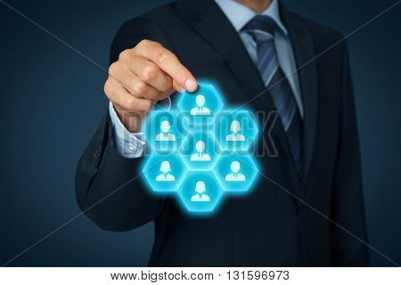 Assemble a business team marketing segmentation team building individual customer care (service) and customer relationship management (CRM) concepts.