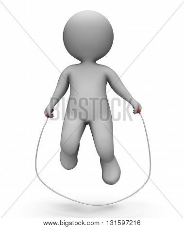 Skipping Characters Shows Jumping Rope And Exercise 3D Rendering