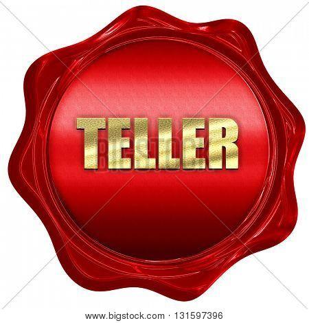 teller, 3D rendering, a red wax seal