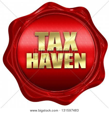 tax haven, 3D rendering, a red wax seal
