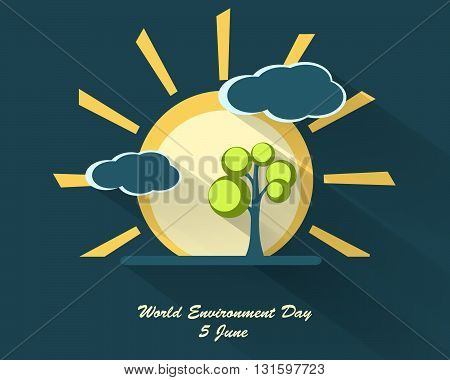 world environment day design with long shadows. Vector sighs, elements for your design. Sun, clouds, tree  vector elements. Eps10