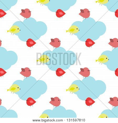 Seamless pattern with clouds and birds vector EPS 10