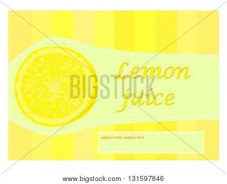 Yellow lemon juice label - vector illustration.