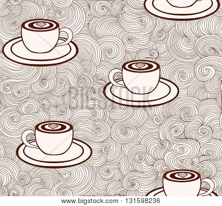 Vector endless texture with coffee cups and figured lines. You can use it for coffee shop or cafe design