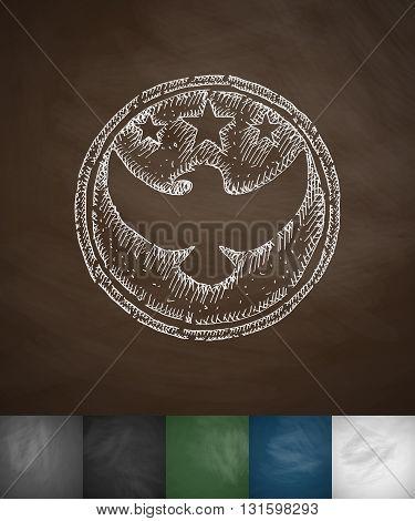 emblem US troops icon. Hand drawn vector illustration. Chalkboard Design