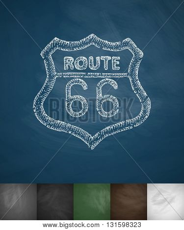 route 66 icon. Hand drawn vector illustration. Chalkboard Design