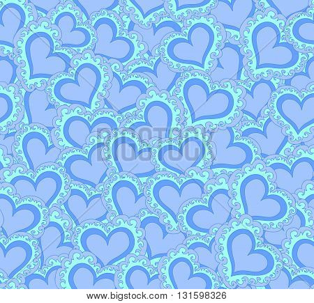 Vector seamless pattern with abstract blue hearts. Endless texture