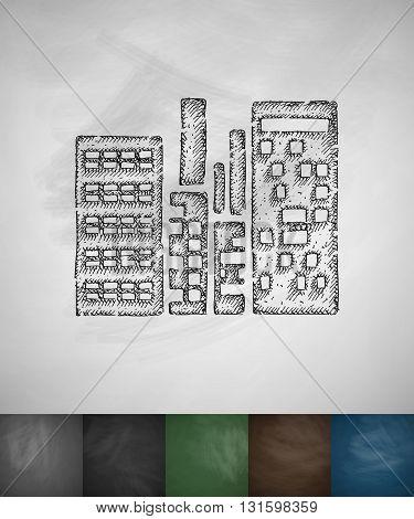high-rises icon. Hand drawn vector illustration. Chalkboard Design