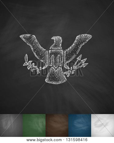 coat of arms USA icon. Hand drawn vector illustration. Chalkboard Design