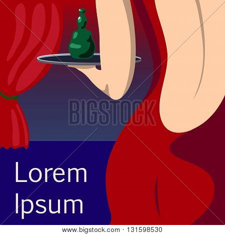 Pretty woman waitress in red evening dress vector illustration with place for text woman in open back dress sensual girl in evening dress sexy waitress bar girl with green bottle