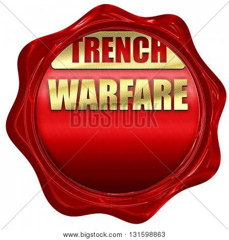 trench warfare sign, 3D rendering, a red wax seal