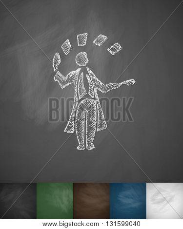 illusionist icon. Hand drawn vector illustration. Chalkboard Design
