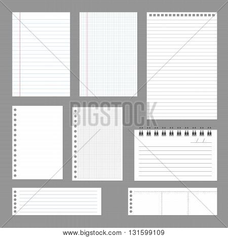 Set of notebook papers vector EPS 10