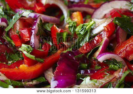 Fresh healthy mixed vegetables salad close up