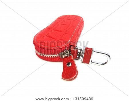 red key chain on isolated white background