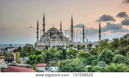 Istanbul, Turkey - July 21, 2013: View of the Blue Mosque (Sultan Ahmet Camii), UNESCO World Heritage Site, in Sultanahmet at dusk