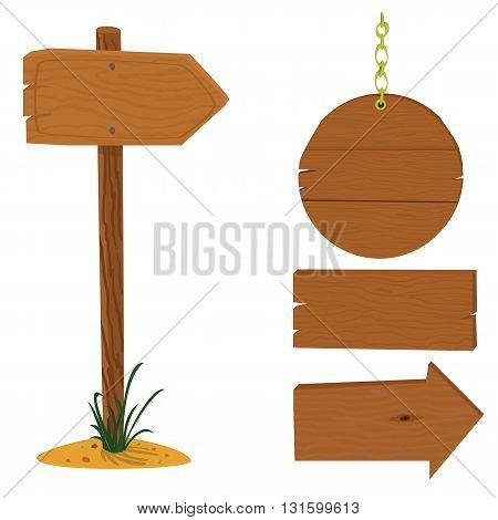 Wood arrow vector cartoon set. Sign arrow with text space