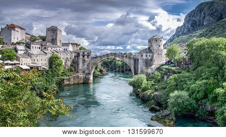 Mostar, Bosnia Herzegovina - May 1, 2014: Stari Most bridge in Mostar