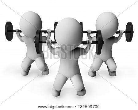 Weight Lifting Indicates Bar Bell And Bodybuilder 3D Rendering