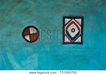 Traditional painted wall rural architecture Orissa India